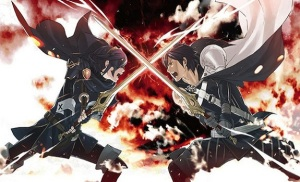 "Chrom battles the mysterious figure known by the legendary name ""Marth"""