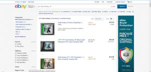 Head over to eBay and search for anything you want. Here, I've searched for our good friend Final Fantasy VII on PS1.