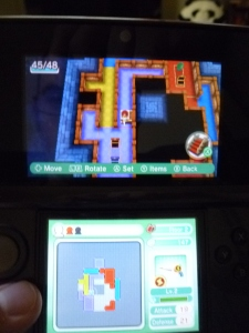 The bottom screen shows the layout of the floor from all the tiles I've placed.