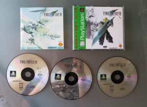 This copy of FF7 is complete with all three discs, the manual, and case.