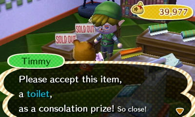 Animal Crossing New Leaf Timmy Toilet
