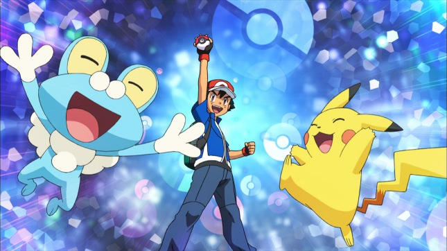 Pokemon anime Froakie and Pikachu