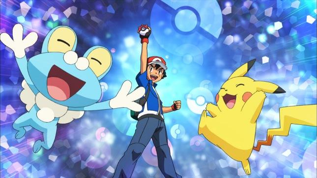 Pokemon anime Froakie and Pikachu